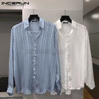 Mode Herren Langarm T-Shirt gestreift glänzend mit Kragen Clubwear Loose Shirt