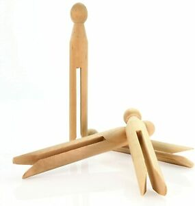 10 x Traditional WOODEN DOLLY PEGS craft washing line 11cm long natural wood