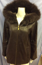 Ellen Tracy Womens 100% Genuine Brown Leather XS Jacket RN#54163