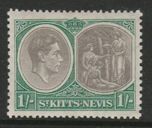 St Kitts-Nevis 1938-50 1/- Black & green SG 75 Mint.