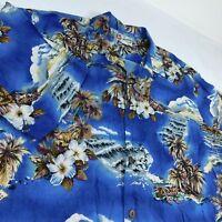 Hilo Hattie Blue Aloha Camp Hawaiian Shirt Sz XL Outrigger Canoe Ukulele Palm