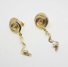 Stunning 9ct Yellow Gold Swirl Pearl Stud Drop Earrings - Free UK Delivery