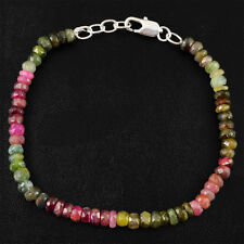 BEST FACETED 58.05 CTS NATURAL UNTREATED WATERMELON TOURMALINE BEADS BRACELET