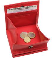 Leder Geldbörse WIENER SCHACHTEL Rot RFID 7 Karten Doppelnaht Portemonnaie