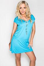 Side String Sky Blue Summer Bikini Beach Dress Casual Short Sleeve Round Neck