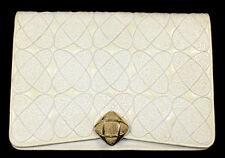 JUDITH LEIBER Vintage Ivory Embroidered Lizard Skin Large Clutch Bag