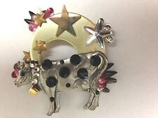 "Cow Broach Pin Jewelry Multicolor Humor 3"" Rhinestone Embelished"