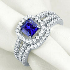 Newshe Wedding Engagement Ring Set 1.4ct Blue Tanzanite Sterling Silver Cz Sz 7