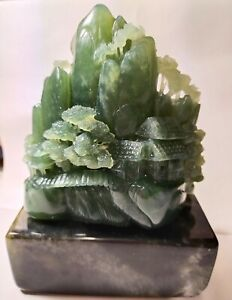 Natural Oil green Nephrite Jade HandCarved Wealth mountain Statue certification