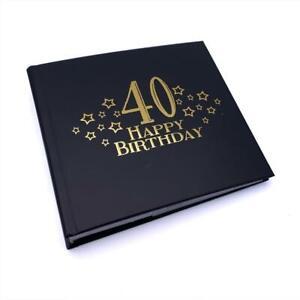 40th Birthday Black Photo Album Gift With Gold Script