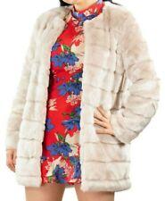 Women's Faux Fur Shaggy Fluffy Panelled Winter Outerwear Longline Coat Jacket