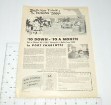 Florida Real Estate Port Charlotte Miami 1950s Advertising 1958 Vintage Print Ad