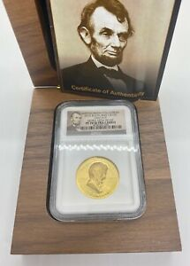 2015 British Virgin Islands 1oz Gold Abraham Lincoln Ultra High Relief NGC PF70