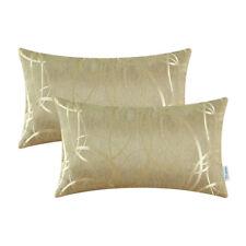 "2Pcs Cushion Cover Bolster Reversible Striped Circle Sofa 12"" X 20"" Gold"