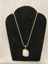 "Rose Quartz Gemstone Nugget Pendant Necklace .925 Silver, 20"" Free Shipping!!"