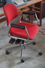 Vintage Retro Mid Century Red Swivel Executive Office / Desk Chair Chrome, Rare