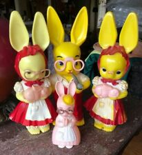 Vtg Knickerbocker Hard Plastic Easter Bunny Family Rabbits Wearing Eye Glasses