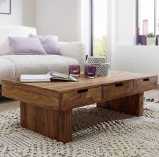 massiver Couchtisch Holz massiv Sheesham Wohnzimmertisch 110cm Schublade Tisch