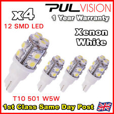 4x Xenon White W5W T10 501 LED SIDE LIGHT / INTERIOR / NUMBER PLATE BULB 12 SMD