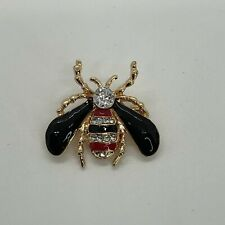 Red & Black Honey Bee Brooch Pin Gold Tone Fashion Jewelry