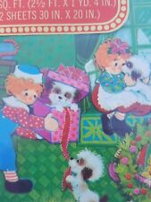 vintage Hallmark gift wrap Raggedy Ann Andy Christmas holiday wrapping paper