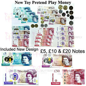 Kids Pretend Toy Play Money Childrens Realistic Fake Plastic Coins New Design