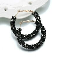 Sparkly Black White Fire Statement Hoop Fashion Shiny Diamond Crystal Earrings