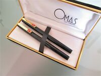 OMAS Set 2 pens, fountain pen + rollerball, black lacquered, with box -70s