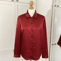 Norton McNaughton Vintage Blouse Size 16 Petite Red Spotted Silky Christmas