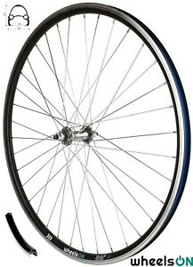 700c wheelsON Front Wheel MTB/Hybrid 36H Black/Silver Spokes Rim-Brakes