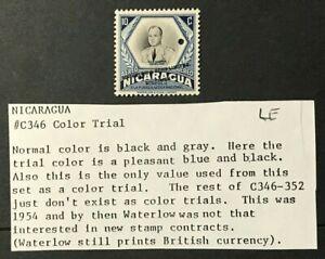 NICARAGUA Sc#C346 1954 National Air force  SPECIMEN Color trial MNH OG VF (8-133