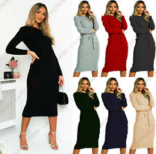 Ladies Cable Knitted Jumper Women's Pocket Tie up Long Midi Party Winter Dresses