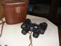 Antique Vintage Binoculars Hertel Reuss Featherweight 7 x 35 Field with Case