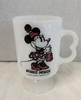 Vintage Disney Minnie Mouse Pedestal Footed Milk Glass Coffee Mug Disneyana