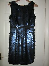 BNWT £75 UK 12 Lipsy Dress Dark Blue Giant Full Sequins Black Mermaid Party
