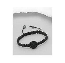 Black Macrame Black CZ 10MM Bead Adjustable Shamballa Bracelet