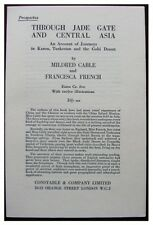 1927 Original Prospectus - JADE GATE AND CENTRAL ASIA - Cable and French