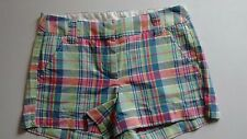 **New Without Tags**J.Crew Green/Blue/Pink Plaid Cotton Chino Shorts Size: 0