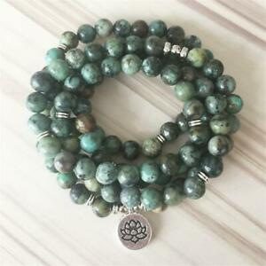 8MM 108 African turquoise Buddha beads Silver Pendant Bracelet Healing Lucky