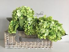 2 Premium Quality Artificial Silk Giant Vintage Hydrangea Stems 80cm GREEN CHIC