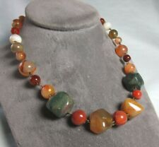 """Mixed Mineral Necklace Brass / Carnelian / Agate / Bloodstone 64.5 grams 17"""""""