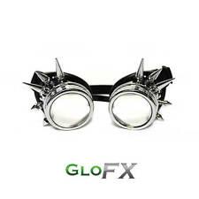 GloFX Chrome Spike Steampunk Padded Goggles Aviator Opticals w/ Sunglass Rave