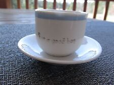 """ANTIQUE WHITE WITH BLUE BAND """"FOR A GOOD BOY"""" CHILDS CHINA TEA CUP SAUCER"""