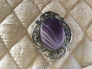 Wampum Jewelry sterling/ shades purple pendant pin chain S. Yarmouth Mass. Cape