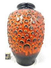 "RARE ""lave"" Glazed 70´s Design Jasba relief céramique Pottery Vase N 900 11 40"