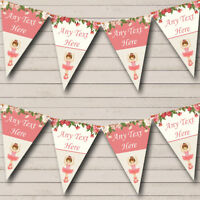 Floral Coral Pink Ballerina Ballet Personalised Baby Shower Bunting Party Banner