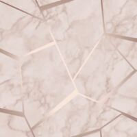 FRACTAL GEOMETRIC MARBLE WALLPAPER ROSE GOLD FINE DECOR FD42264 FEATURE WALL NEW