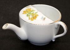 Antique MEDICAL INVALID FEEDER Porcelain PAP BOAT Hospital Sick Cup HANDPAINTED