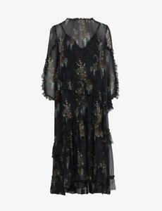 All Saints Macey Melisma Flowing Dress in Black Size 10 BNWT £199