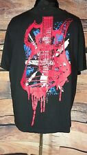 UK Style French Connection Men Sz XL Graphic Guitar Ink Splat Tee Shirt Black